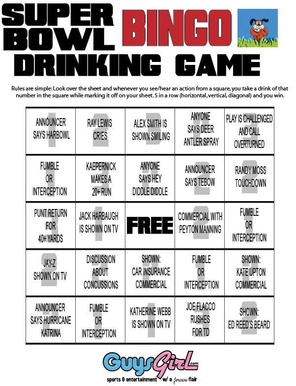 SuperBowl Bingo Drinking Game