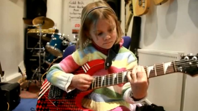 7 Year Old Girl Crushes Sweet Child of Mine Guitar Cover