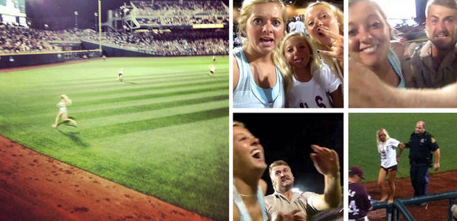 Girl Runs Onto Field and Takes Selfie During College World Series