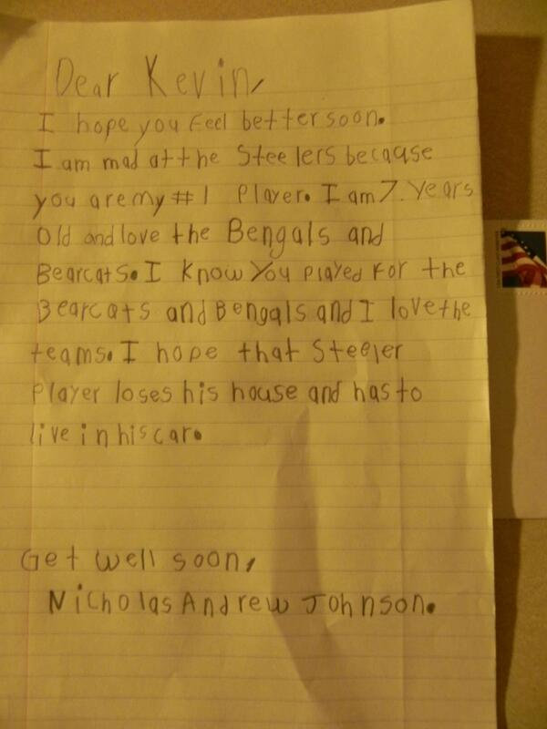 "Kid's Letter: ""I hope that Steeler player loses his house and has to live in his car"""