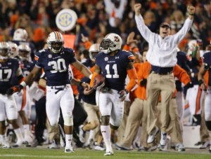 Chris Davis returns a missed field goal for the game-winning touchdown against Alabama. (Dave Martin/AP)