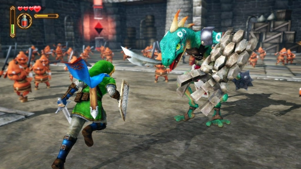 Link fighting a monster