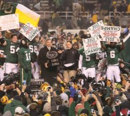Baylor celebrates winning the 2013 Big 12 title