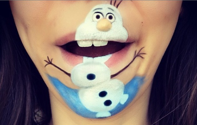 Makeup Artist Uses Cartoons for Lip Art