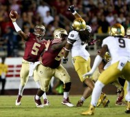 FSU QB Jameis Winston throws a pass against ND