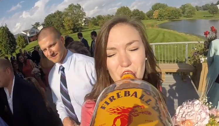 Wedding Guests Attach GoPro Camera To A Liquor Bottle