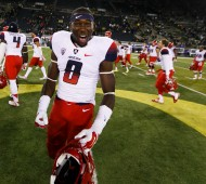 Arizona CB Patrick Glover celebrates after beating Oregon in October