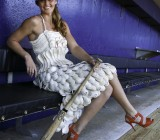 The story behind a woman who used 150 baseballs to make a dress