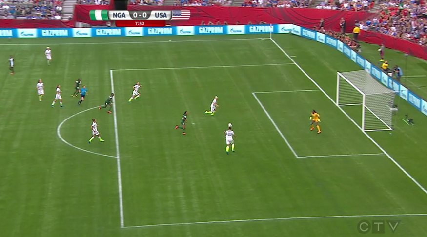 USWNT goal disallowed vs. Nigeria. (It was definitely a goal.)