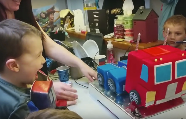 Dad makes Optimus Prime birthday cake that actually transforms