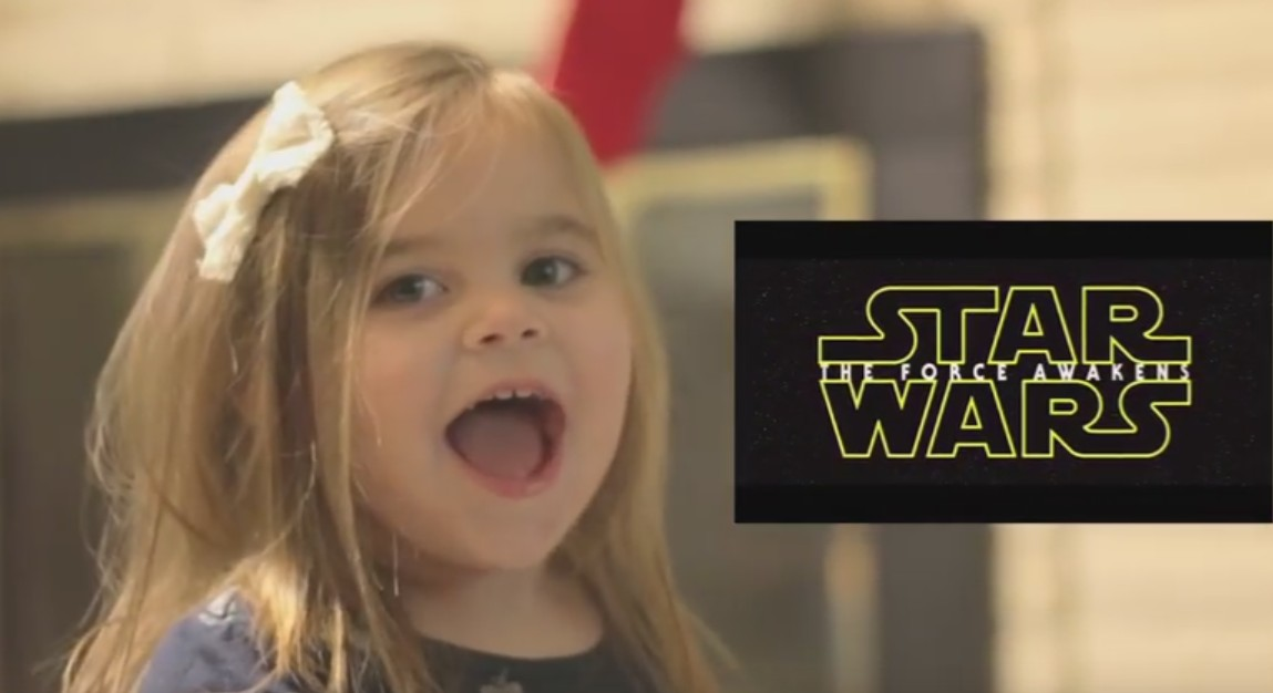 Watch this little girl react adorably to seeing Star Wars